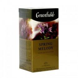 Herbata Greenfield Spring Melody 25x1,5g - czarna indyjska, o smaku brzoskwini, z liśćmi werbeny, mięty i porzeczki
